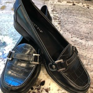 Black Faux Croco Loafers by Predictions Excellent